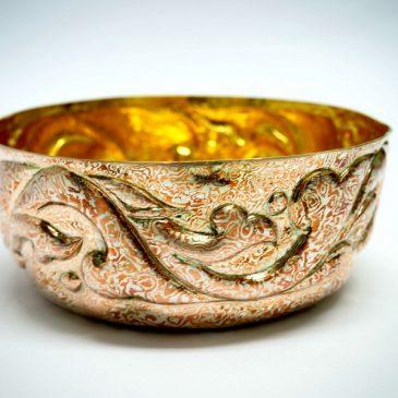 ขันเงิน โมกุเม่ กาเน่ ลายไทยสลักดุน Mokume Gane bowl with Thai pattern punching technique