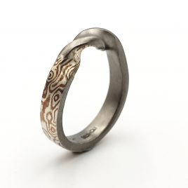 Mokume Gane Ring. THE TWIST of Wave reflects ring 4mm width